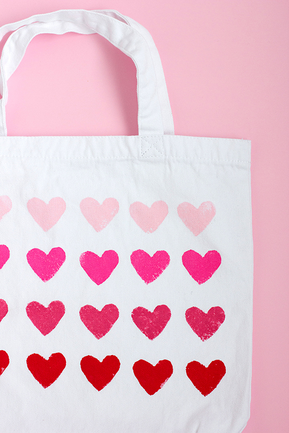 DIY Heart Stamped Tote Bag