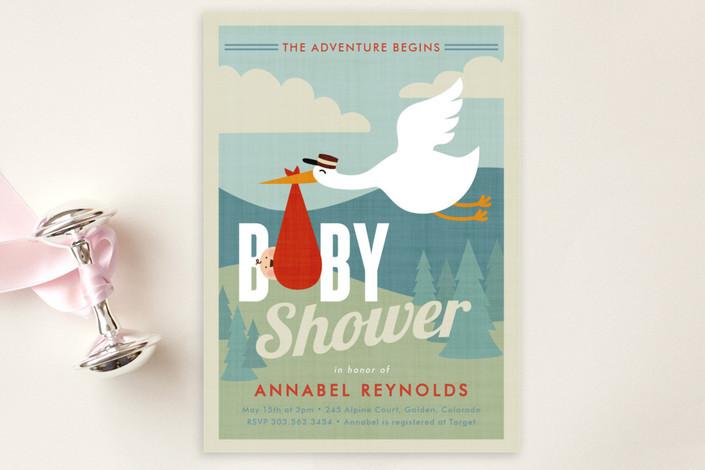 adventurer baby shower postcard by susan asbill