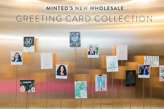 Minted greeting cards childrens apparel and nursery decor make we showcased some of our new greeting cards against a copper wall spotlighting a rotation of minted artists here we show stacey meacham of atlanta m4hsunfo
