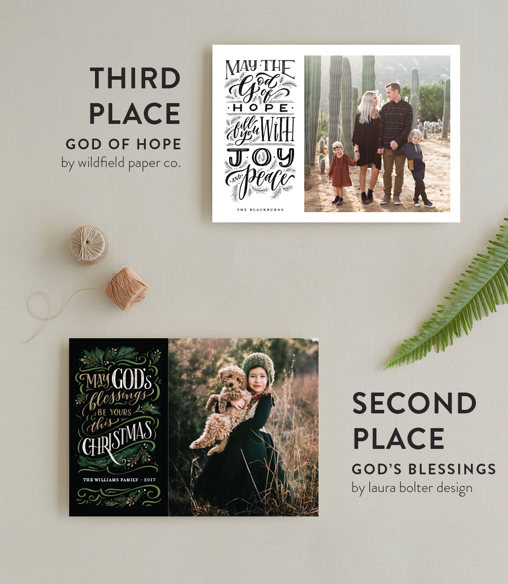 2017 religious christmas holiday card challenge top 10 1 winners annie mertlich of wildfield paper cos black and white lettering is a vibrant hopeful compliment to the photo m4hsunfo